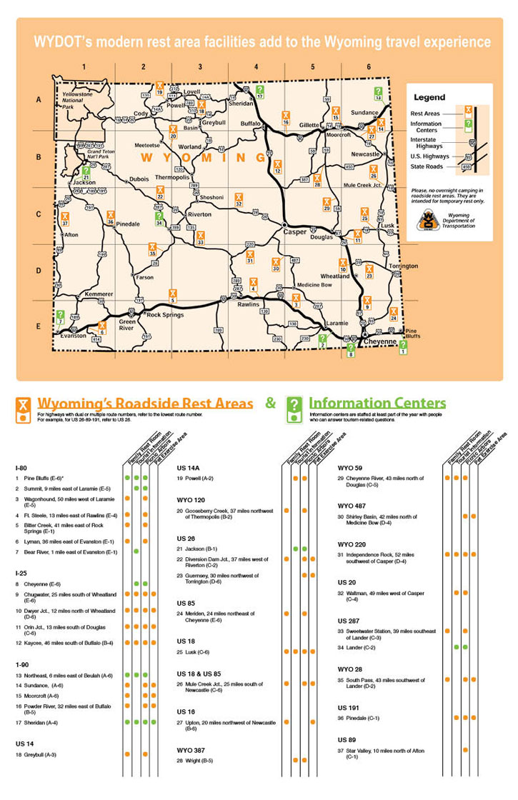 Map of rest areas locations in Wyoming